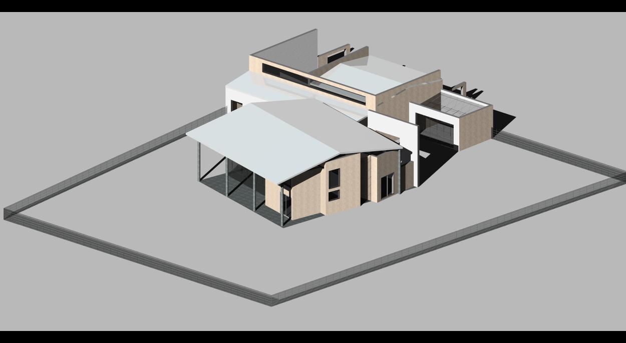 L'ensemble. Les murs de l'entrepôt existant sont conservés pour une cour et une habitation annexe. En continuité : une serre.