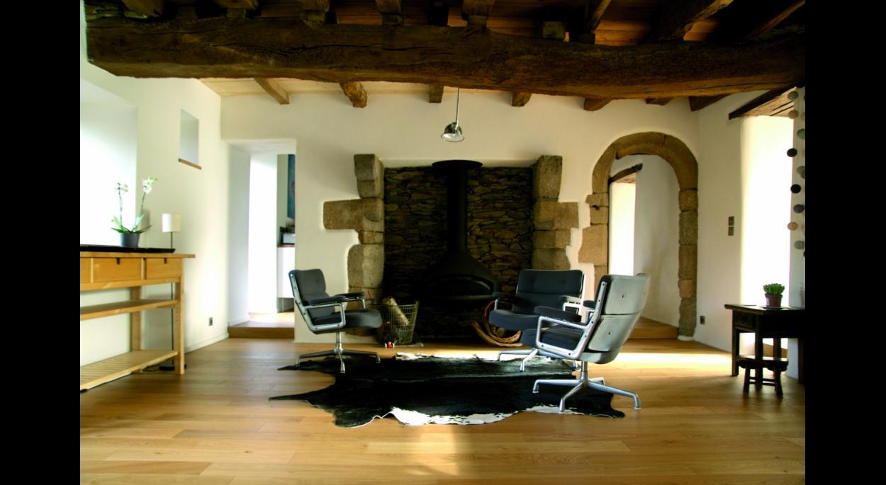 Salon à la cheminée - B.HOUSSAIS Architecture
