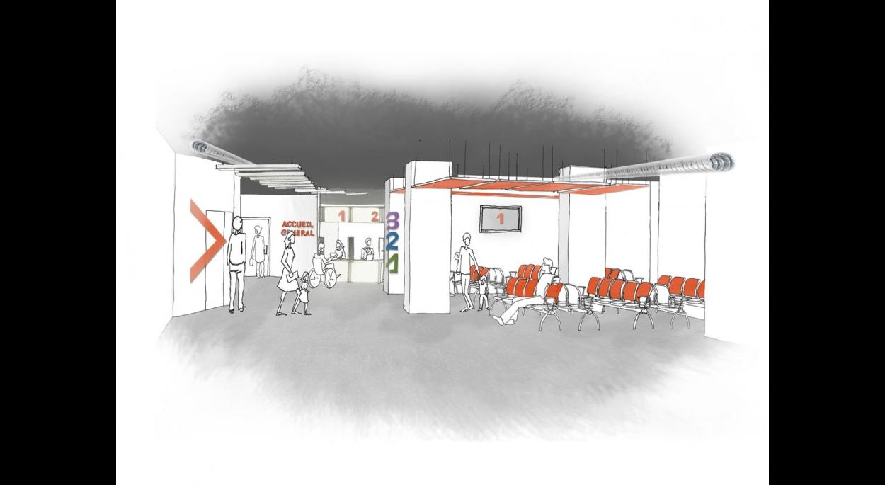 Proposition espace d'attente - phase Esquisse - par SLA Architecture