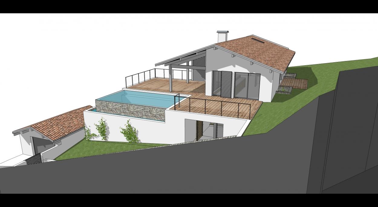 Maison neuve-piscine débordement-Ciboure-Native-Architecture