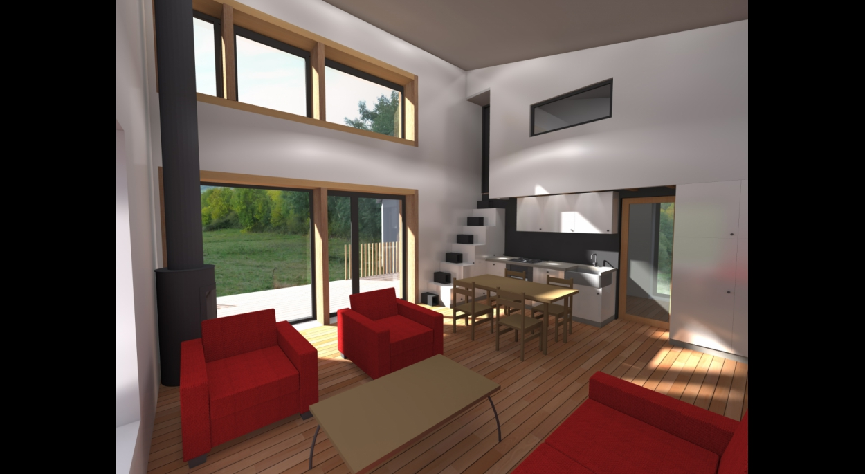 Très largement vitrée, la pièce principale communique avec les espaces extérieurs