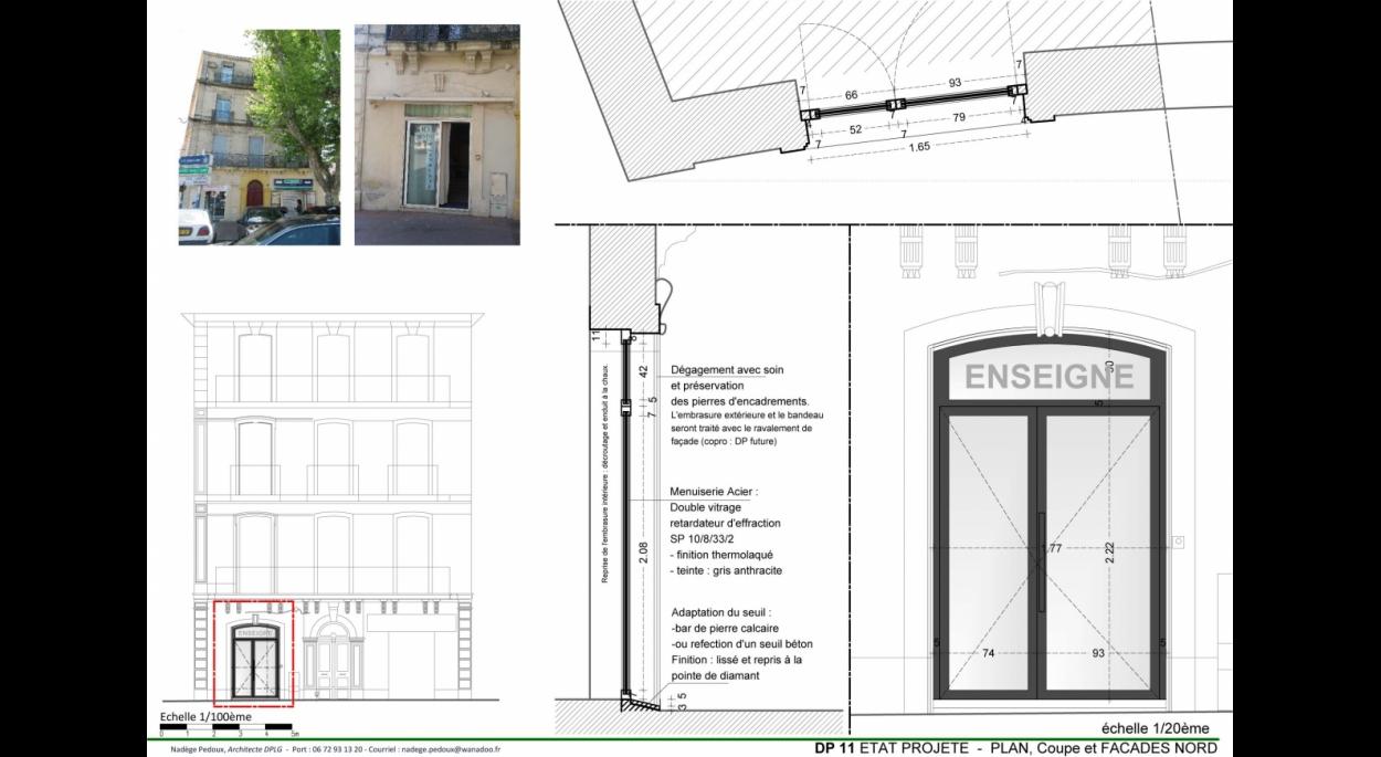 Dessin de Menuiserie pour mise en valeur et en conformité (accessibilité/urbanisme/thermique)