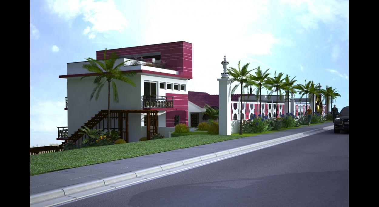 Immeuble du terrain en pente vue côté rue
