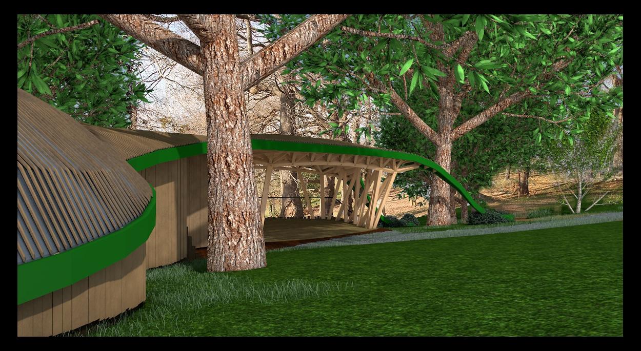 Perspective contre le bâtiment. Ouvrage en bois