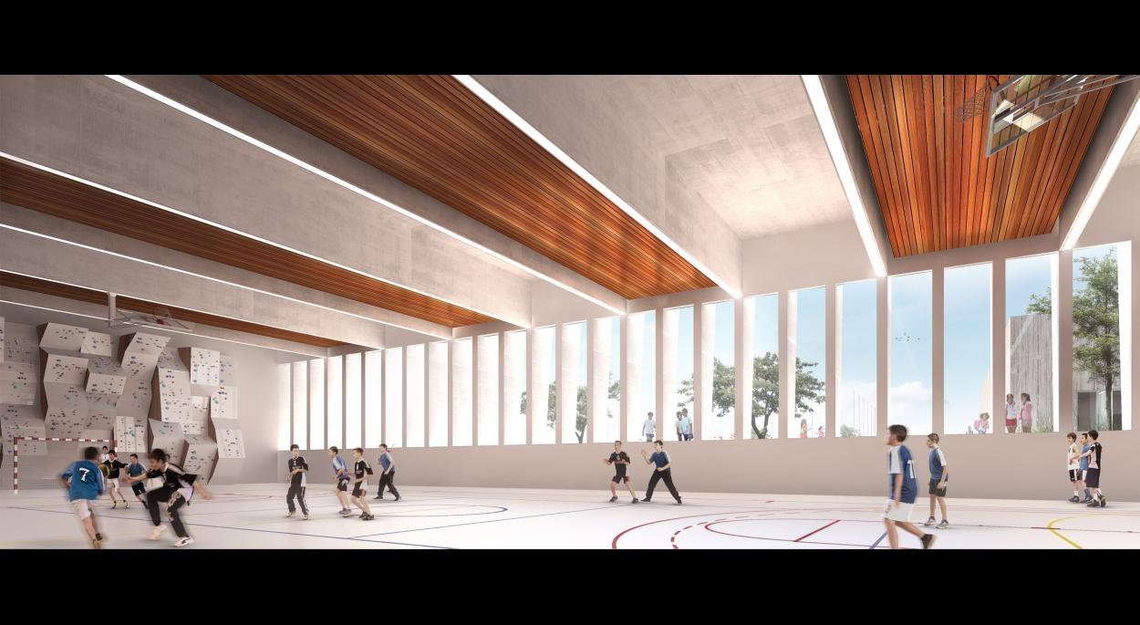 Vue intérieure sur la salle multisports