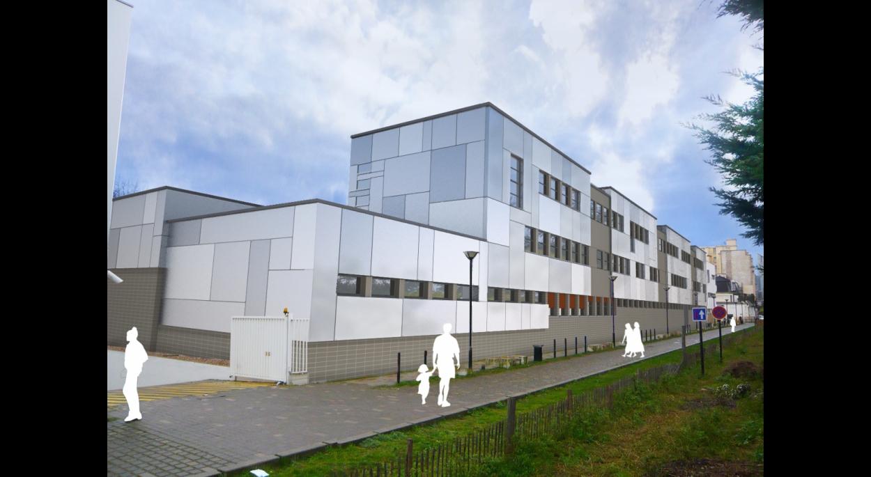 requalification volumétrique - école et gymnase - perspective rue