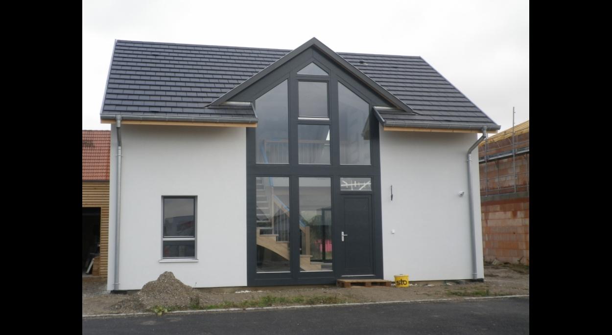 maison ossature bois bioclimatique pignon vitr birgit ferjantz cabinet d 39 architecte. Black Bedroom Furniture Sets. Home Design Ideas