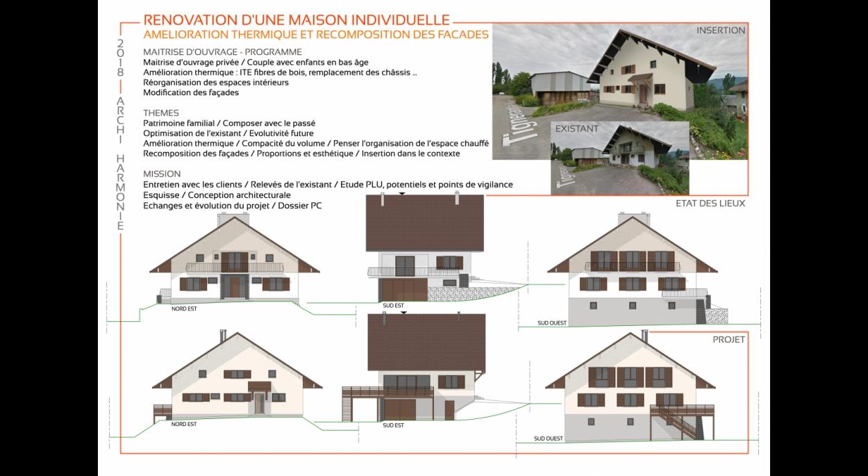 Amélioration thermique et modification de façades d'une maison des années 50