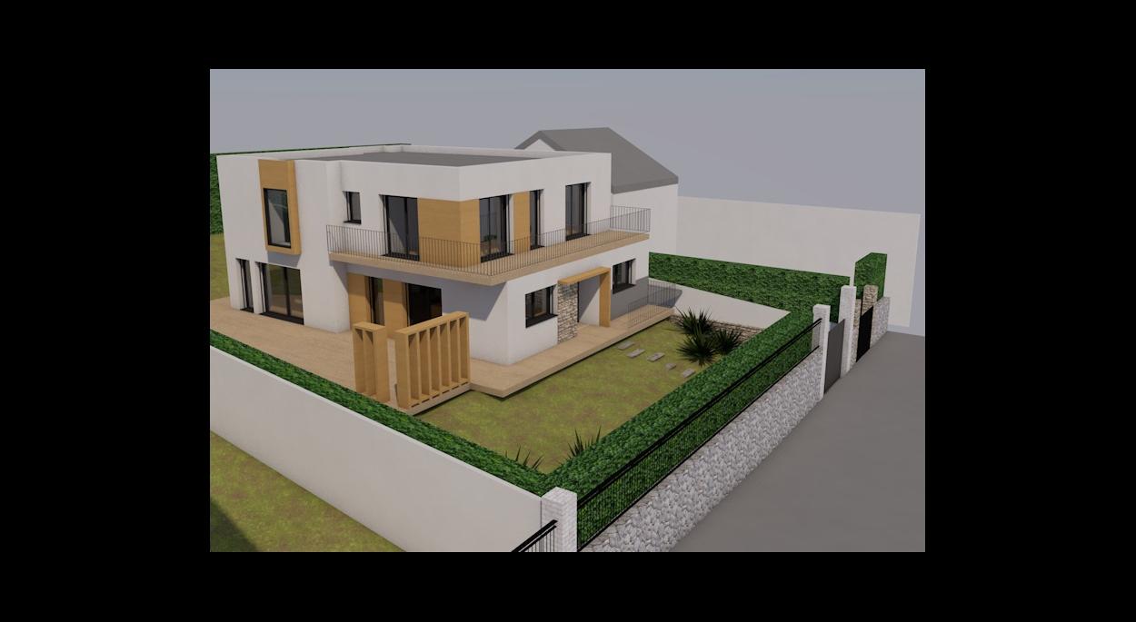 Maison individuelle en briques Monomur, enduit et placage bois.