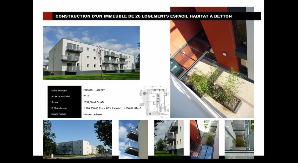 Construction d'un immeuble de 26 logements locatifs sociaux ESPACIL HABITAT à BETTON (35)
