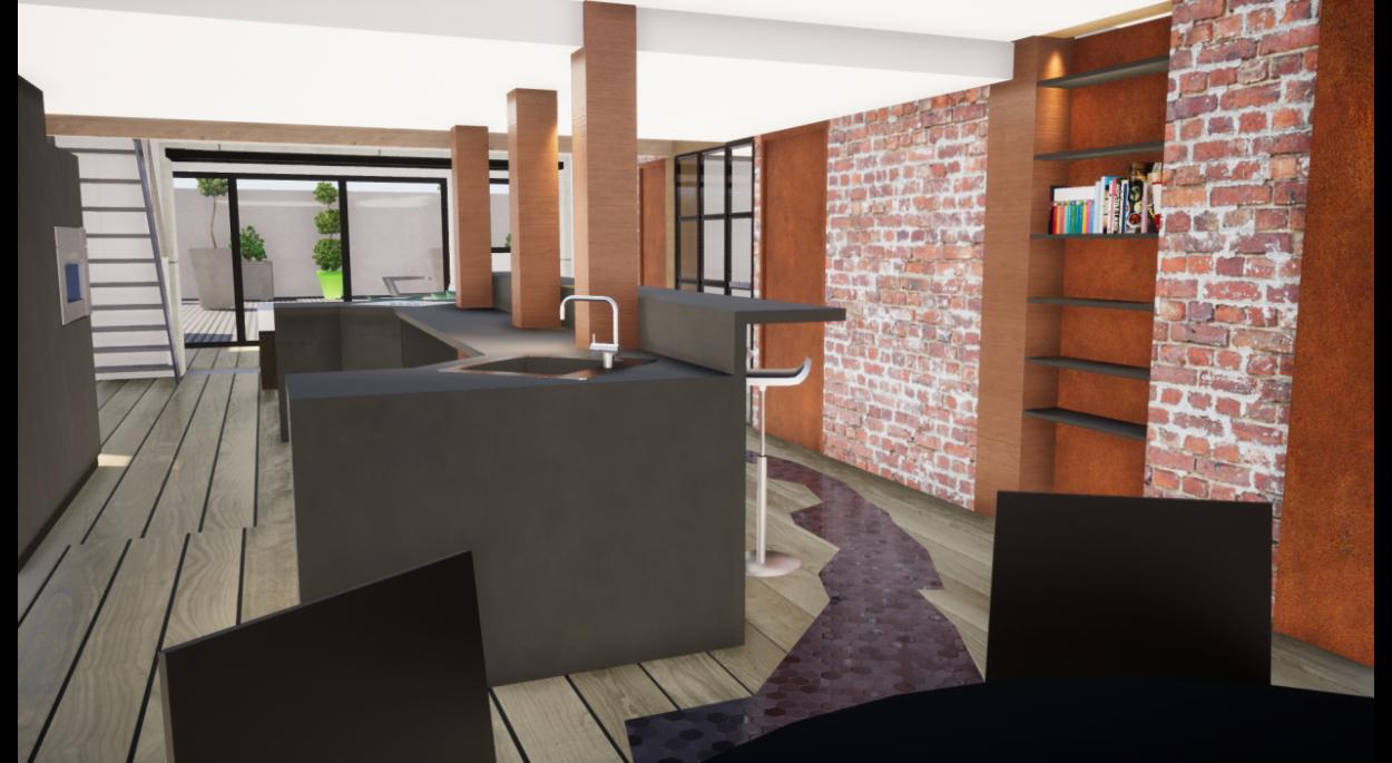 Vue Twinmotion sur l'espace traversant salle à manger cuisine