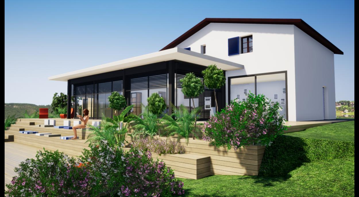 Vue logiciel Twinmotion de la façade projet avec nouvelle véranda tout vitrée et toiture plate.