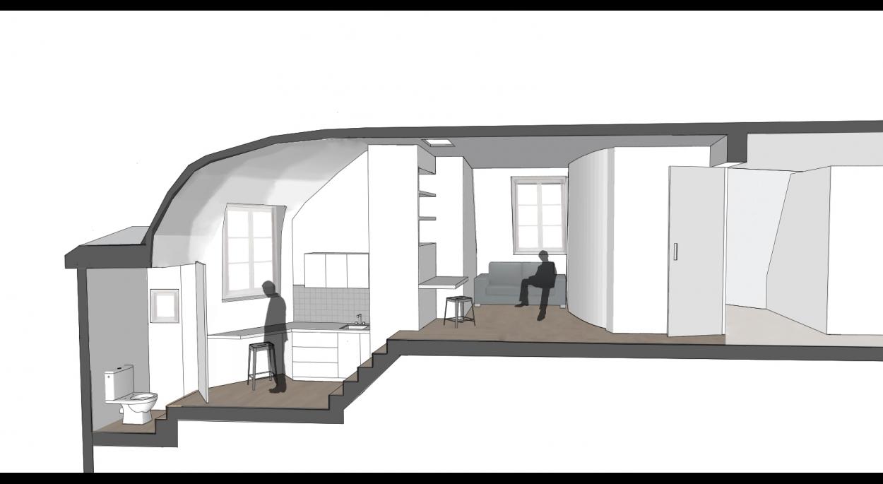 Aménagement d'un studio en haut de l'escalier de service.