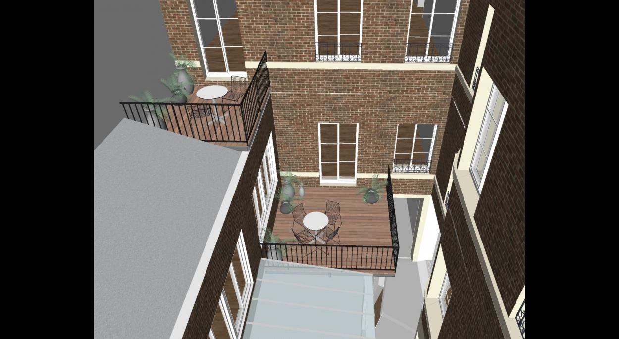 Vue sur les terrasses proposées sur les ailes basses.