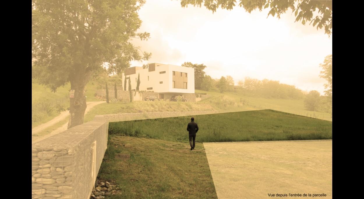 Maison en pierre - construction neuve - terrain avant projet