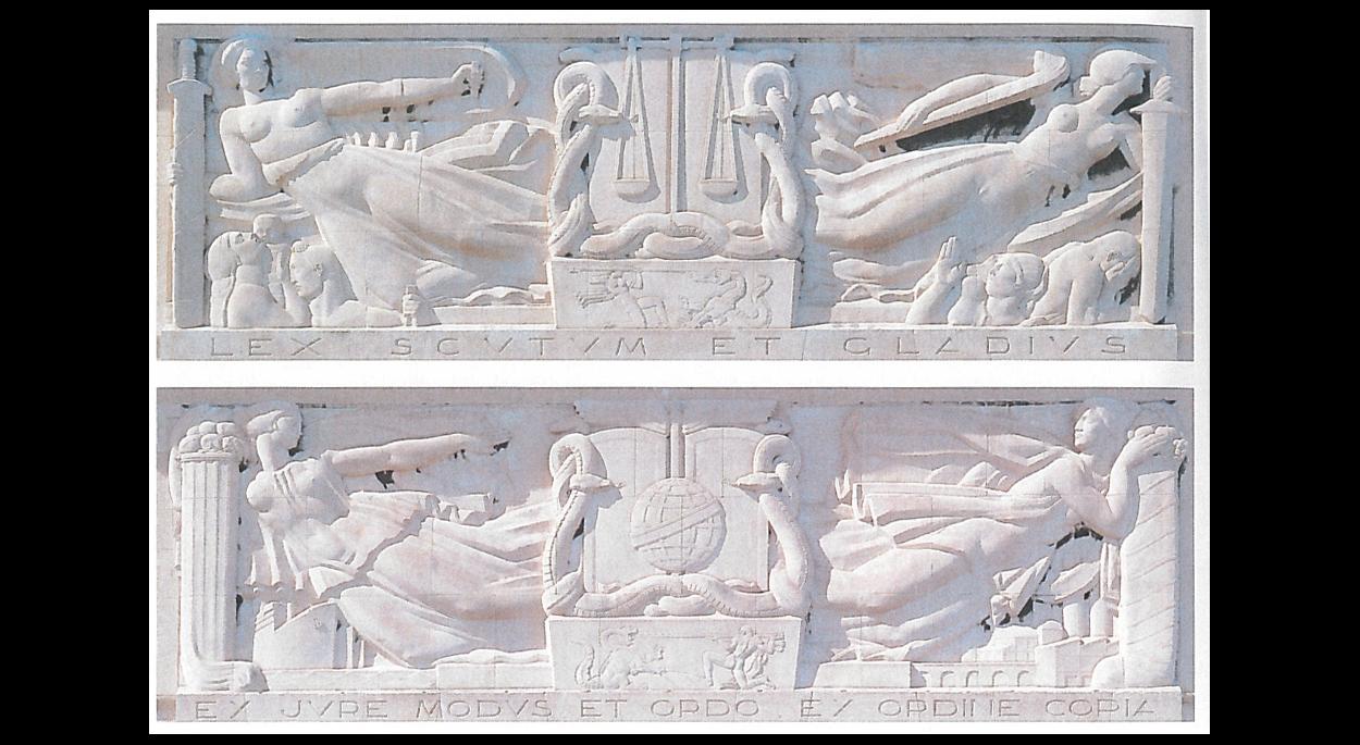 Bas reliefs réalisés par le sculpteur Antoine Sartorio