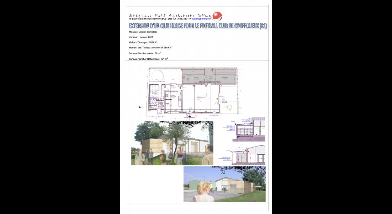 Extension, rénovation et mise aux normes d'un club house des footballeurs à Coufouleux (81)