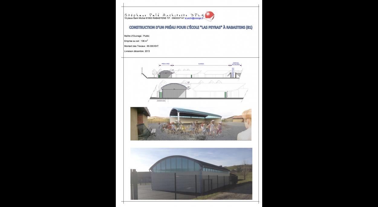 Construction d'un préau de 136m2 pour l'école