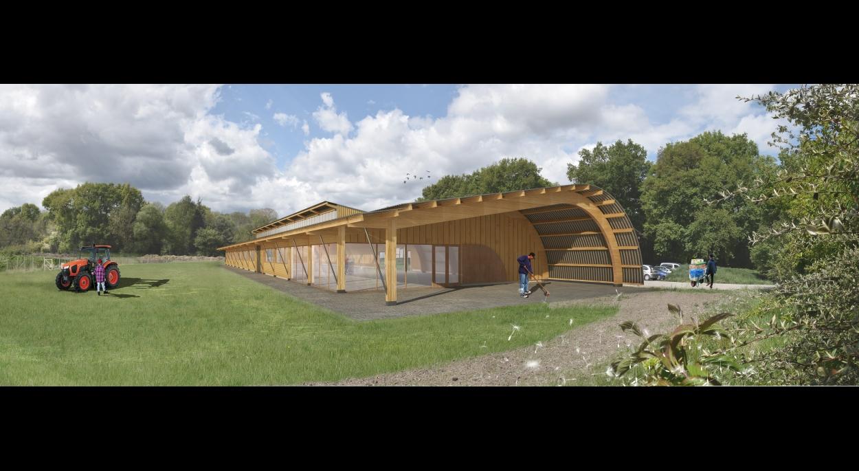 Bruno GOETSCHY.  Hangar en matériaux biosourcés pour un maraîcher en Agriculture Biologique
