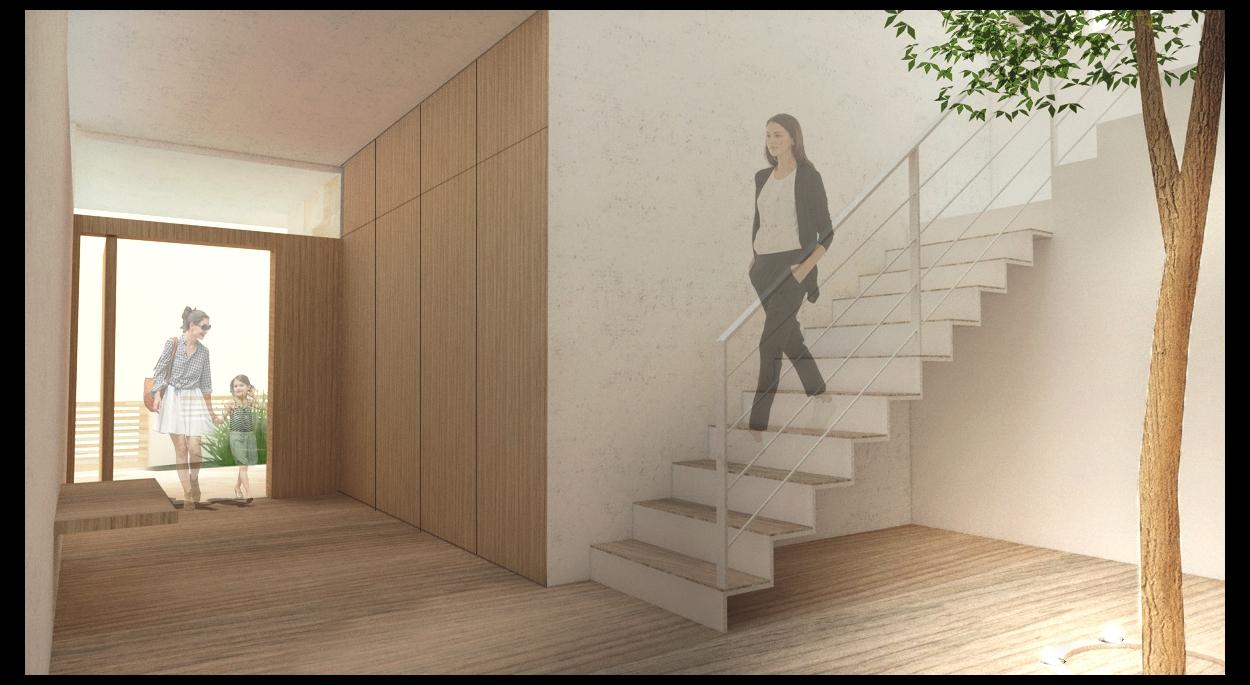 Vue escalier intérieur