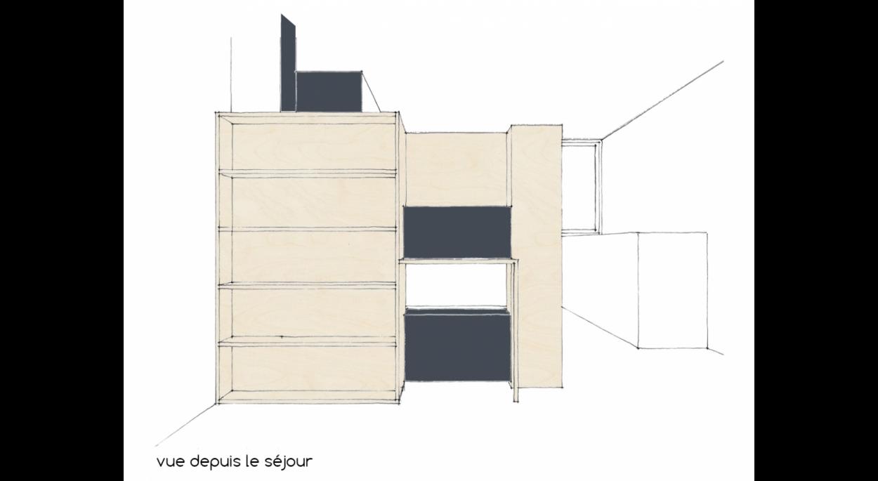 Meubles Cloison Double Face création d'un meuble d'entrée | lefebvre cubizolles cécile