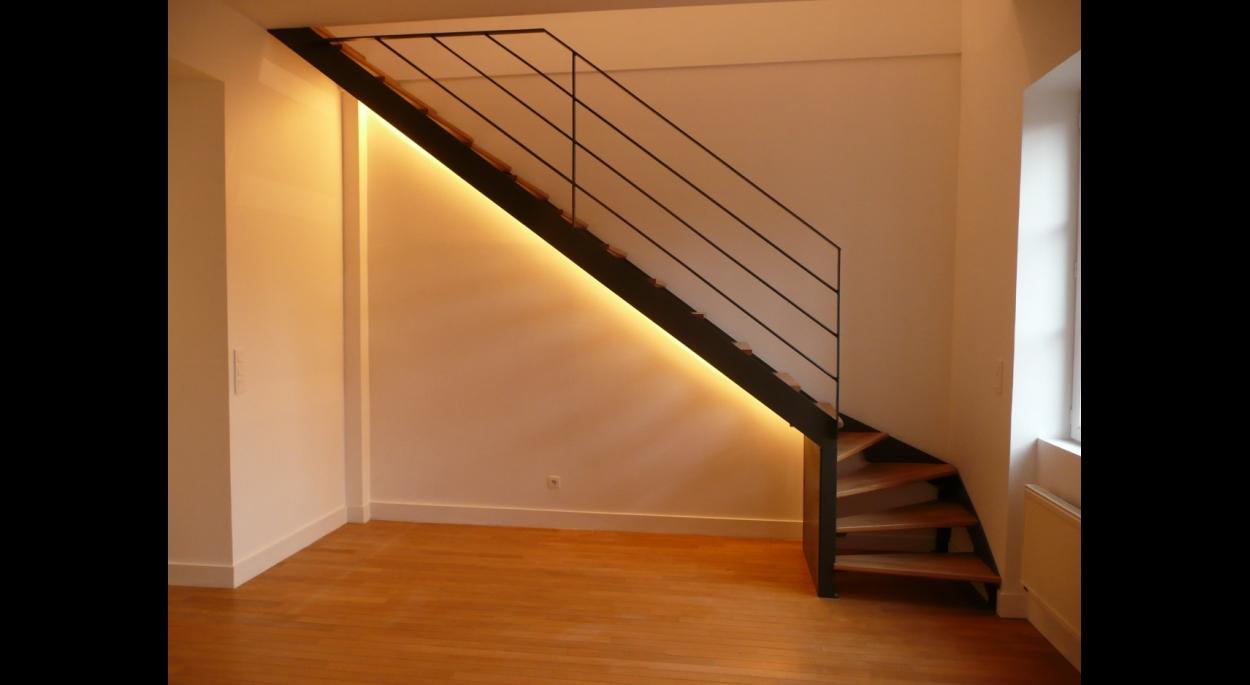 Escalier metal et bois