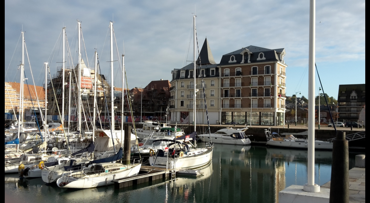 vue des lots C et F depuis le bassin du port de plaisance de Deauville