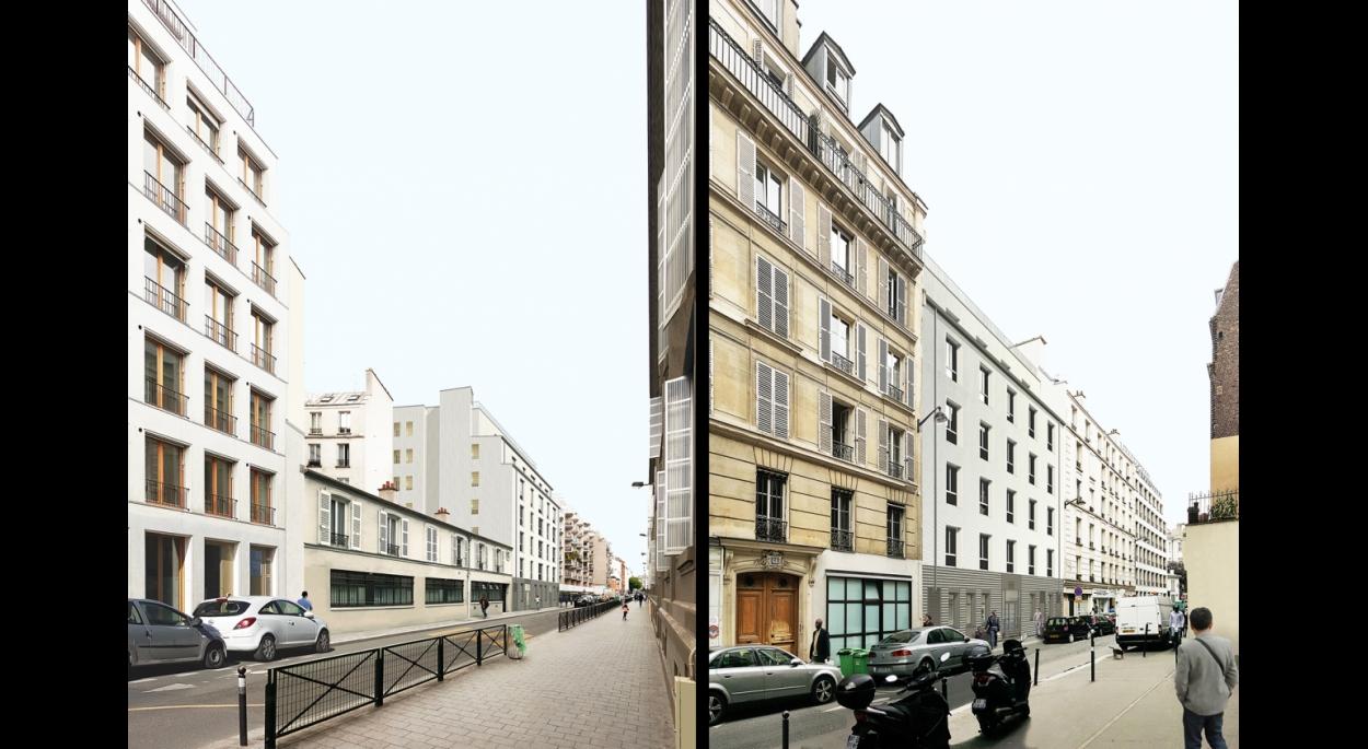 23 LOGEMENTS SOCIAUX ET UNE PENSION DE FAMILLE: rue Pajol et rue Philippe de Girard