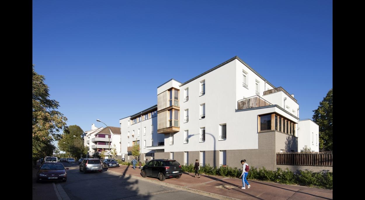 LOGEMENTS H&E/BBC rue Pajol à NOISY LE GRAND : façades nord/ouest rue Pajol