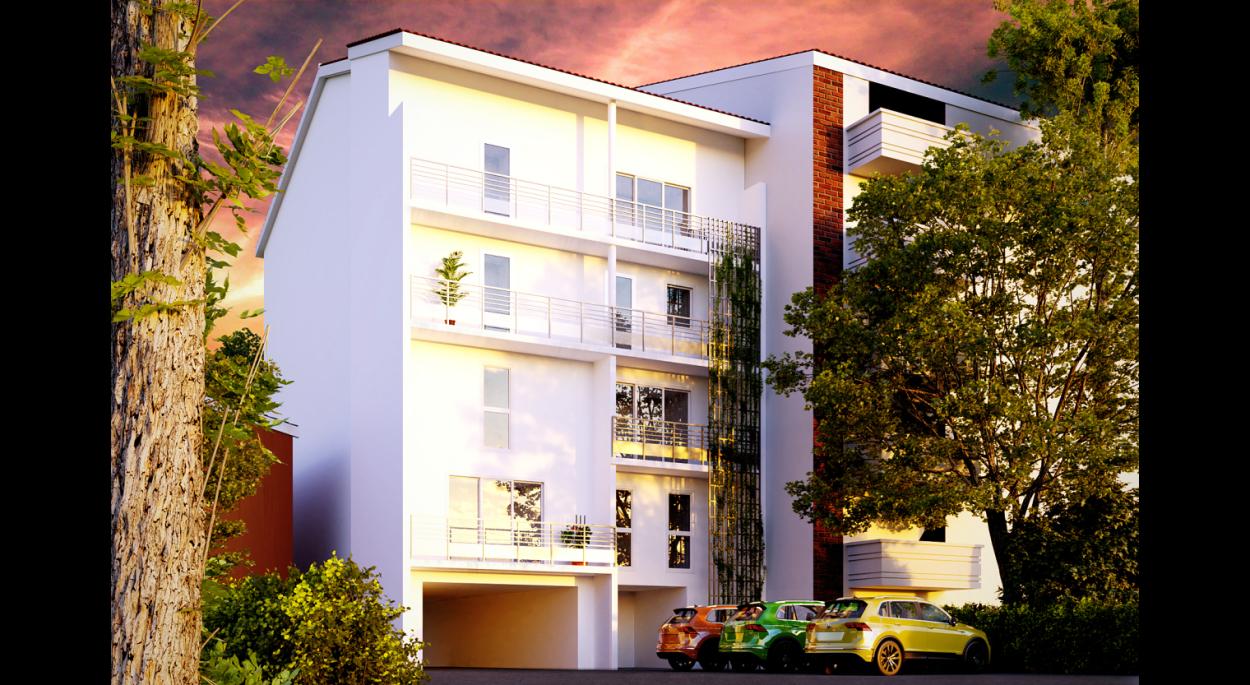 Garonne et Ciel : un résidence de 7 logements sur une parcelle en lanière de 10m de large