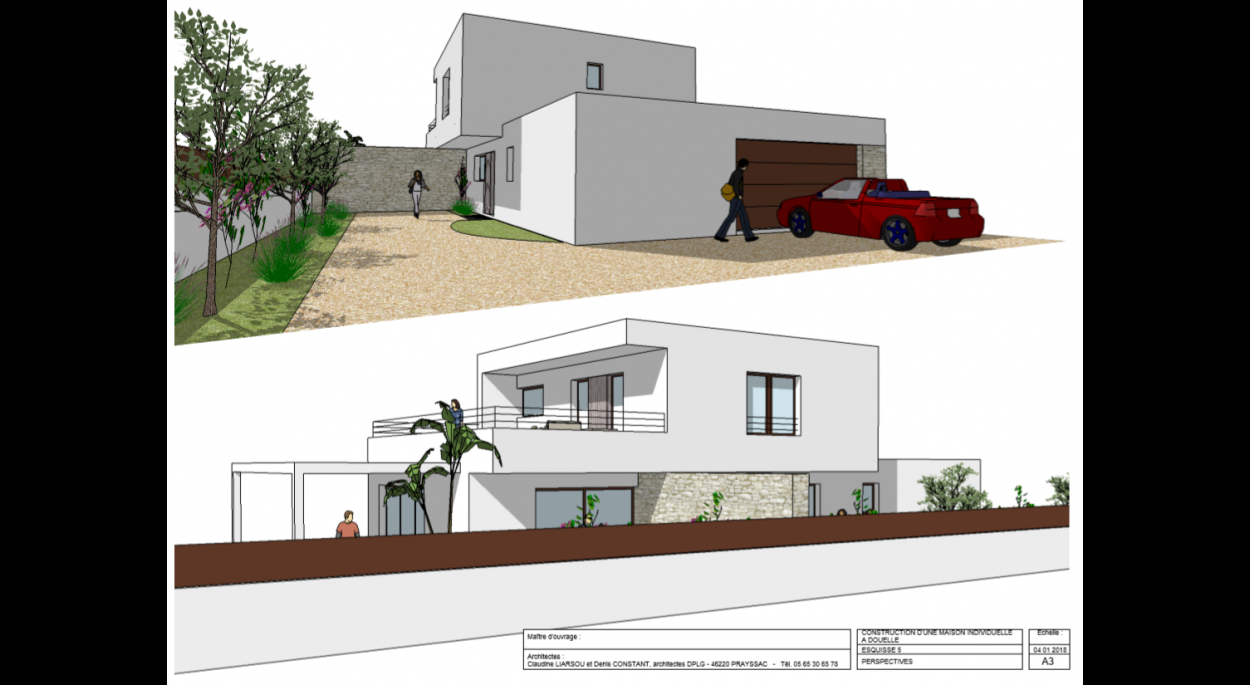Perspective / Façade Nord et façade Est