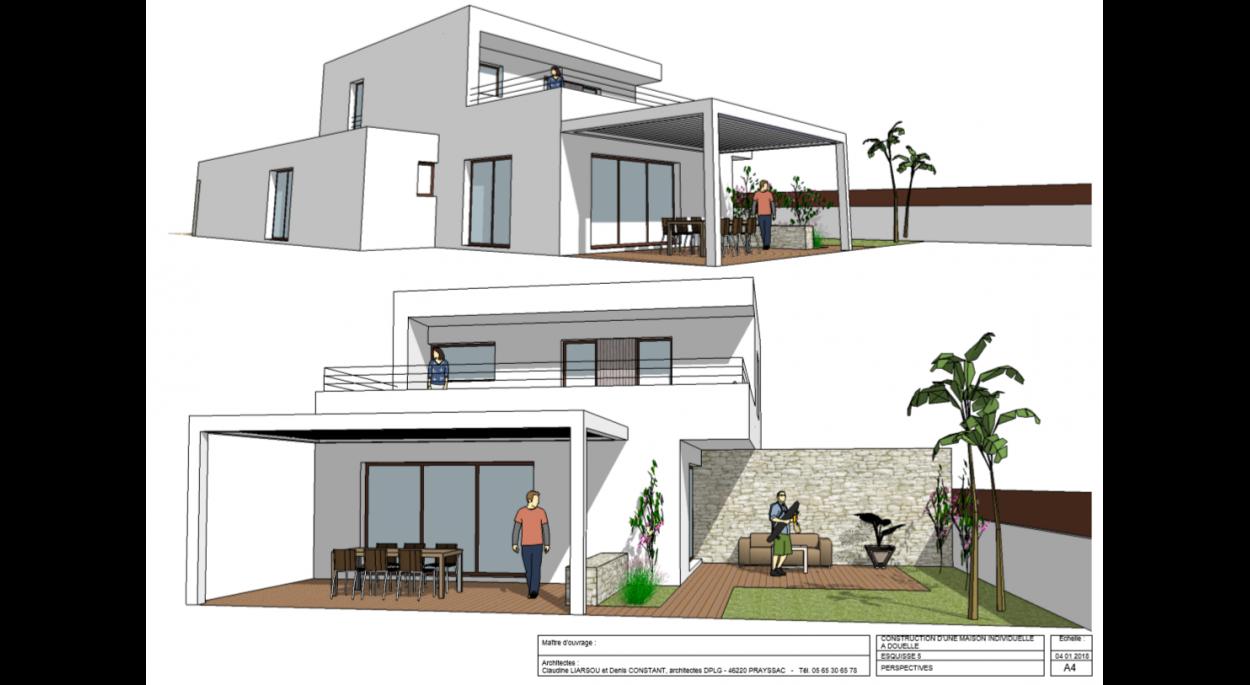 Perspective / Façade Ouest et façade Sud