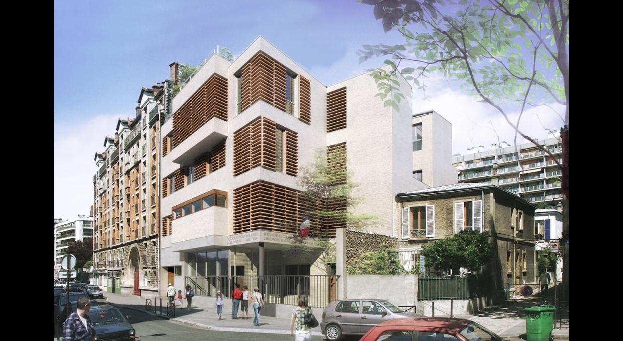 ECOLE POLYVALENTE - rue Olivier Metra PARIS  vue perspective