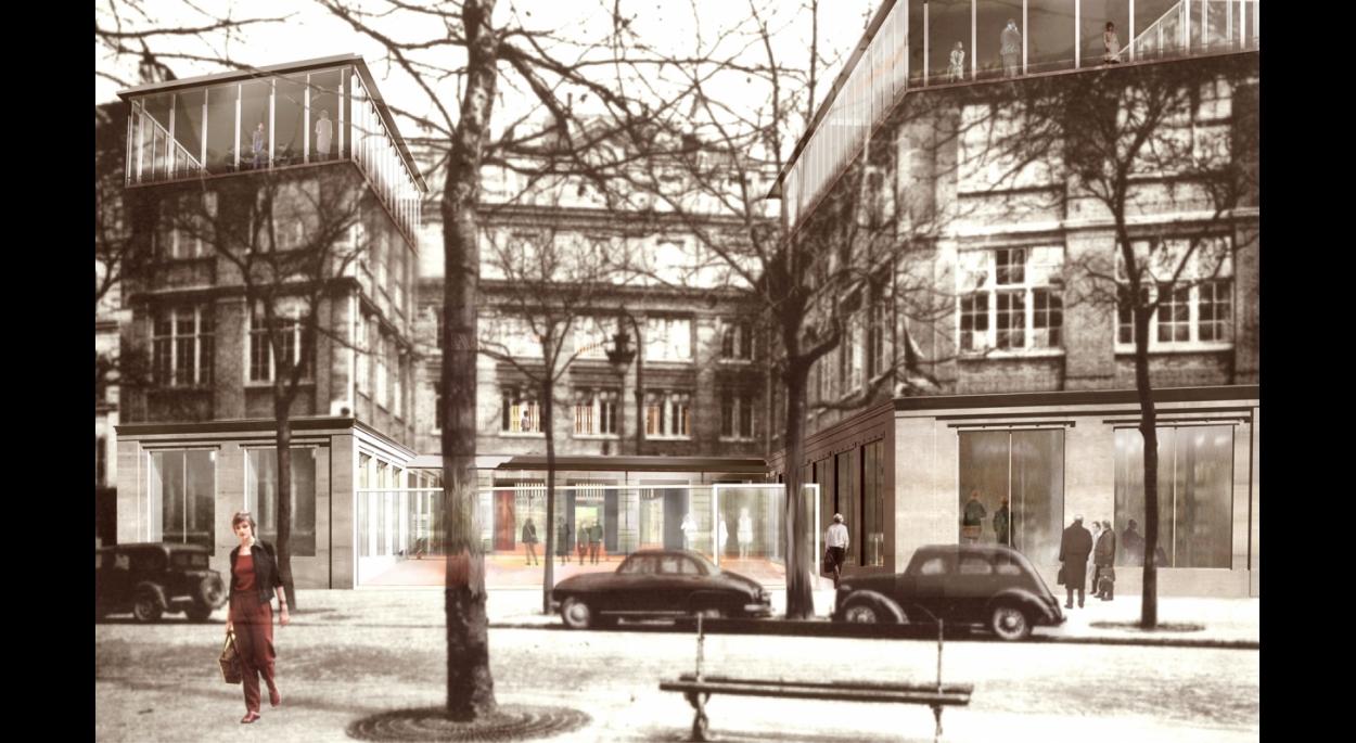 ECOLE D'ARCHITECTURE DE PARIS-BELLEVILLE  vue perspective sur le boulevard de Belleville