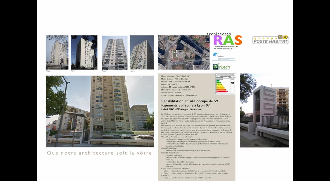 La Résidence Leclerc est un immeuble de 59 appartements construit sur 15 niveaux en 1972 par l'architecte lyonnais E. Gachon pour les HLM des Chemins de fer Alpes et Forez. La plupart des appartements sont occupés par des locataires majoritairement anciens cadres de la SNCF. La Poste Habitat a récemment fait l'acquisition de l'immeuble, vendu par ICF. Les objectifs de la maîtrise d'ouvrage sont une amélioration générale de la performance thermique, la modernisation des appartements vétustes, et l'améliorati
