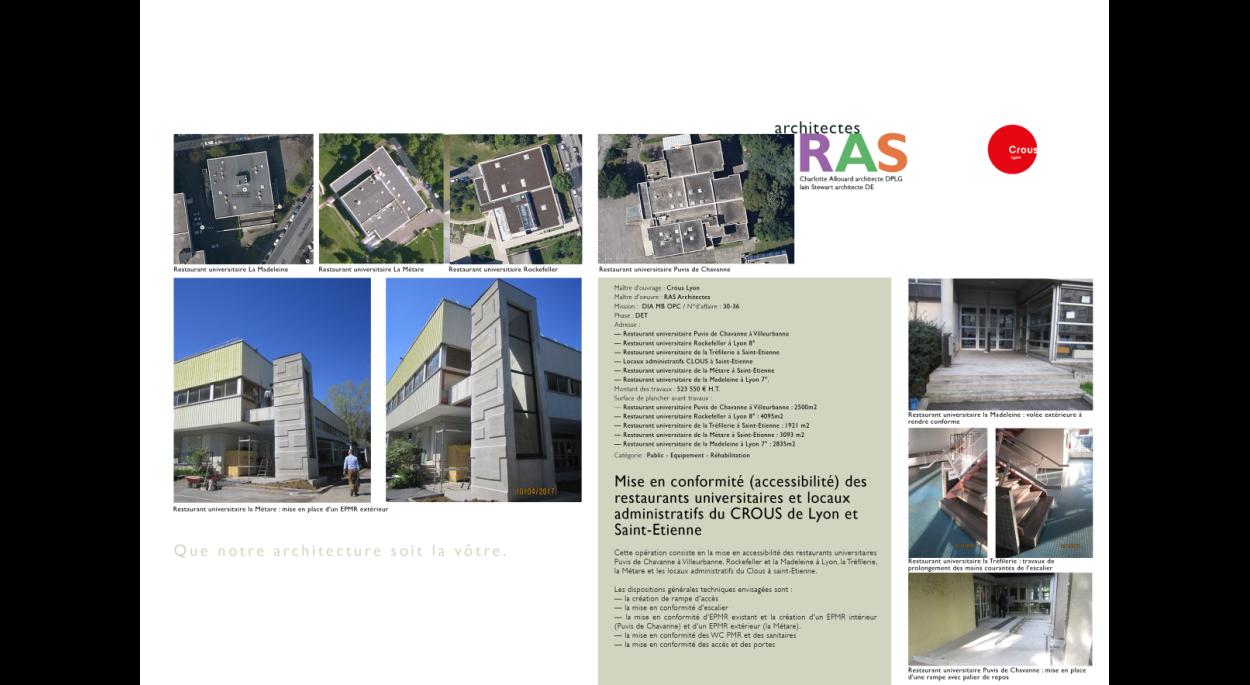 Mise en accessibilité de restaurants universitaires et locaux administratifs du CROUS de Lyon (69) et Saint-Etienne (42)