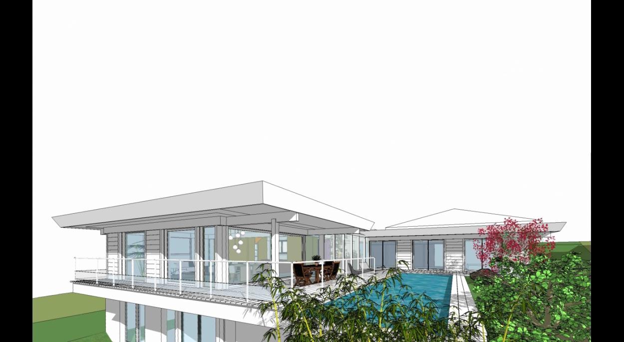 Maison bioclimatique Messery-Esquisse façade Sud