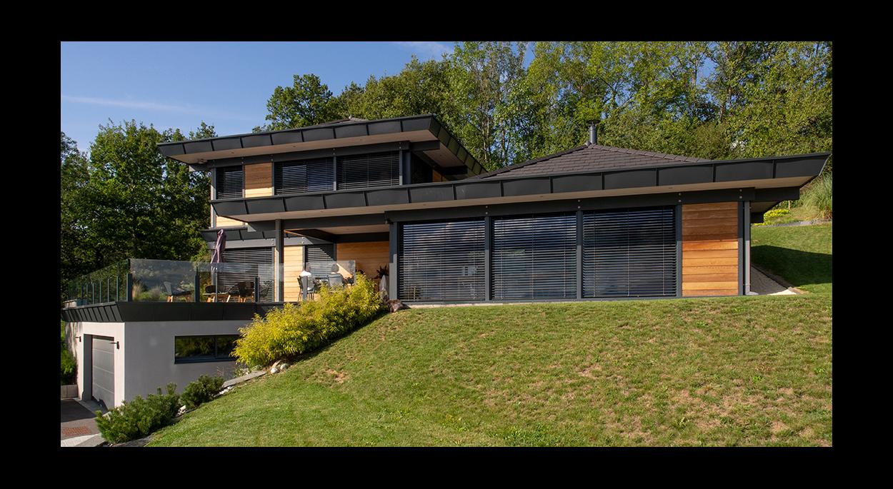 Maison bois bioclimatique Bonnes-sur-Menoge _ Façade Sud