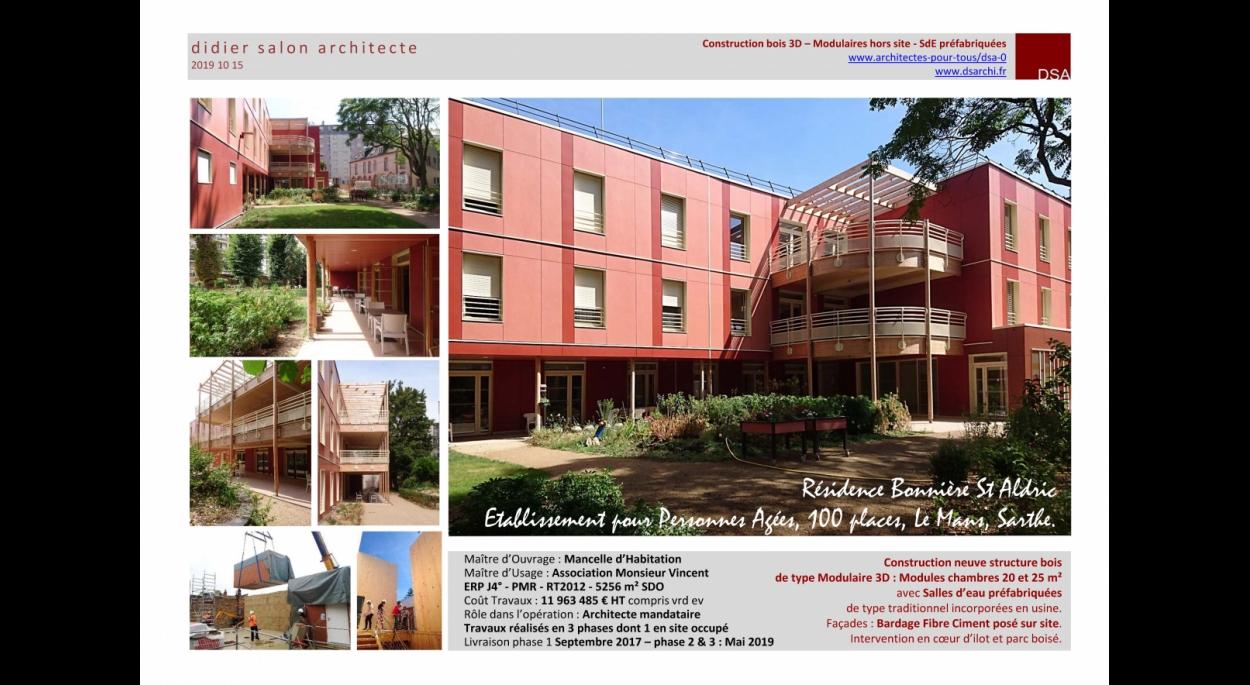 DSA Résidence Bonnière Saint Aldric Ehpad Personnes âgées Construction Modulaire Hors Site