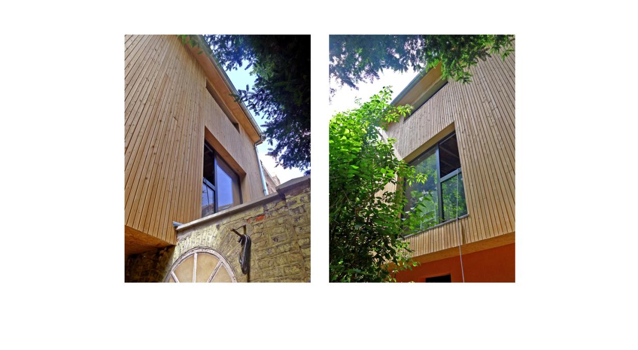 Rénovation de deux maisons de ville à Lille - Extension Ossature bois - Bardage bois