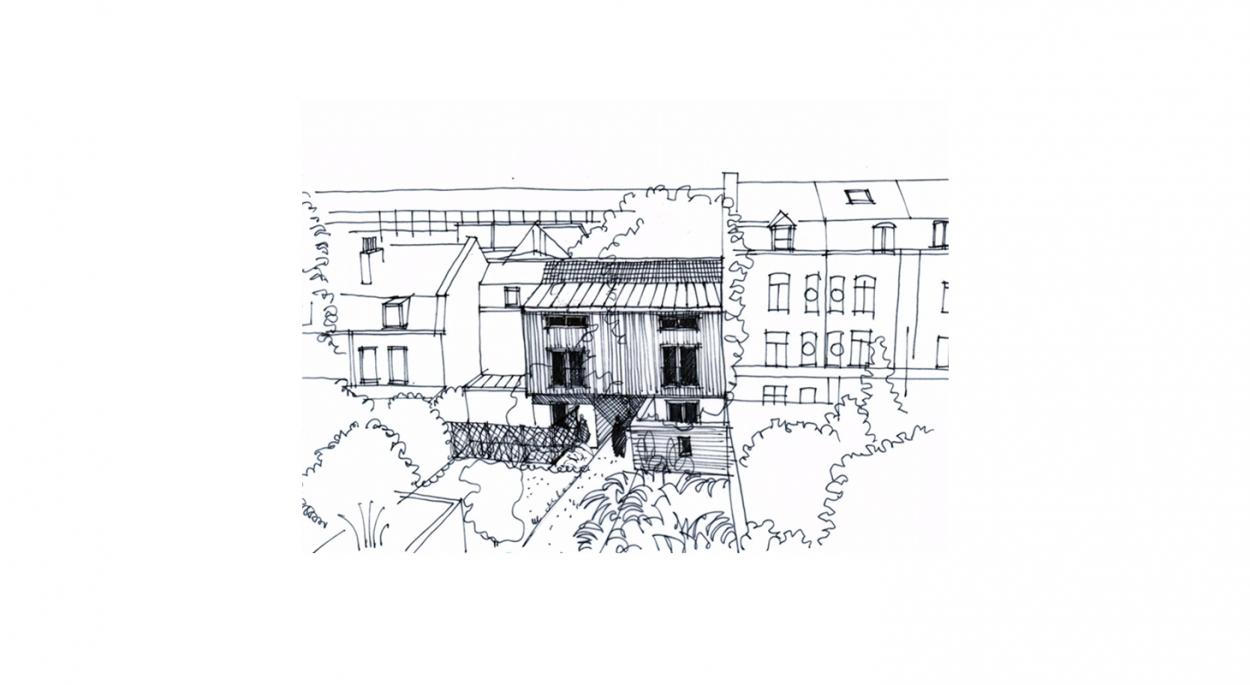 Rénovation de deux maisons de ville à Lille - Croquis d'insertion