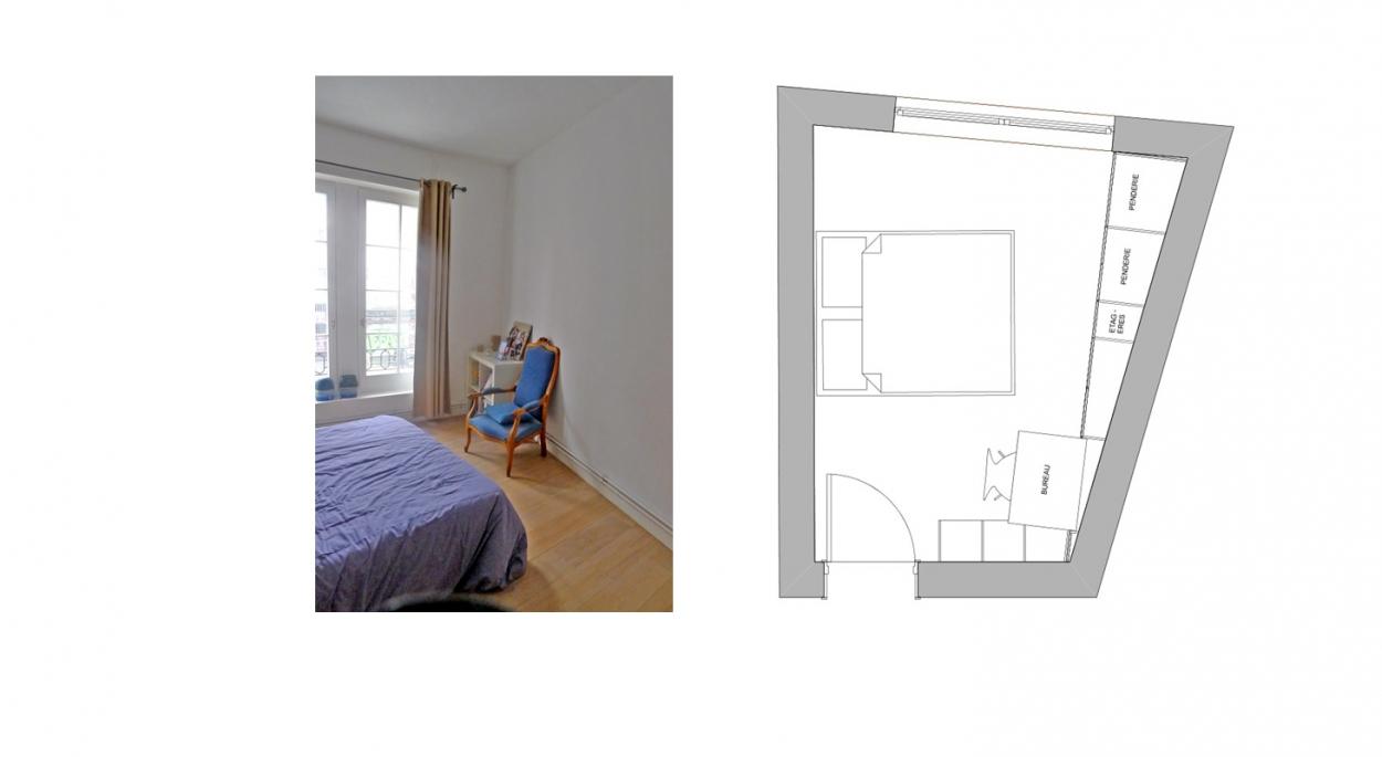 Agencement penderie et coin bureau à Lille - Chambre état existant / Plan de chambre aménagée