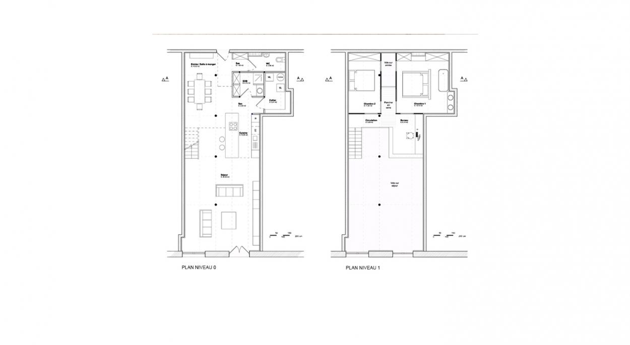 Aménagement d'un loft - Plans de niveaux