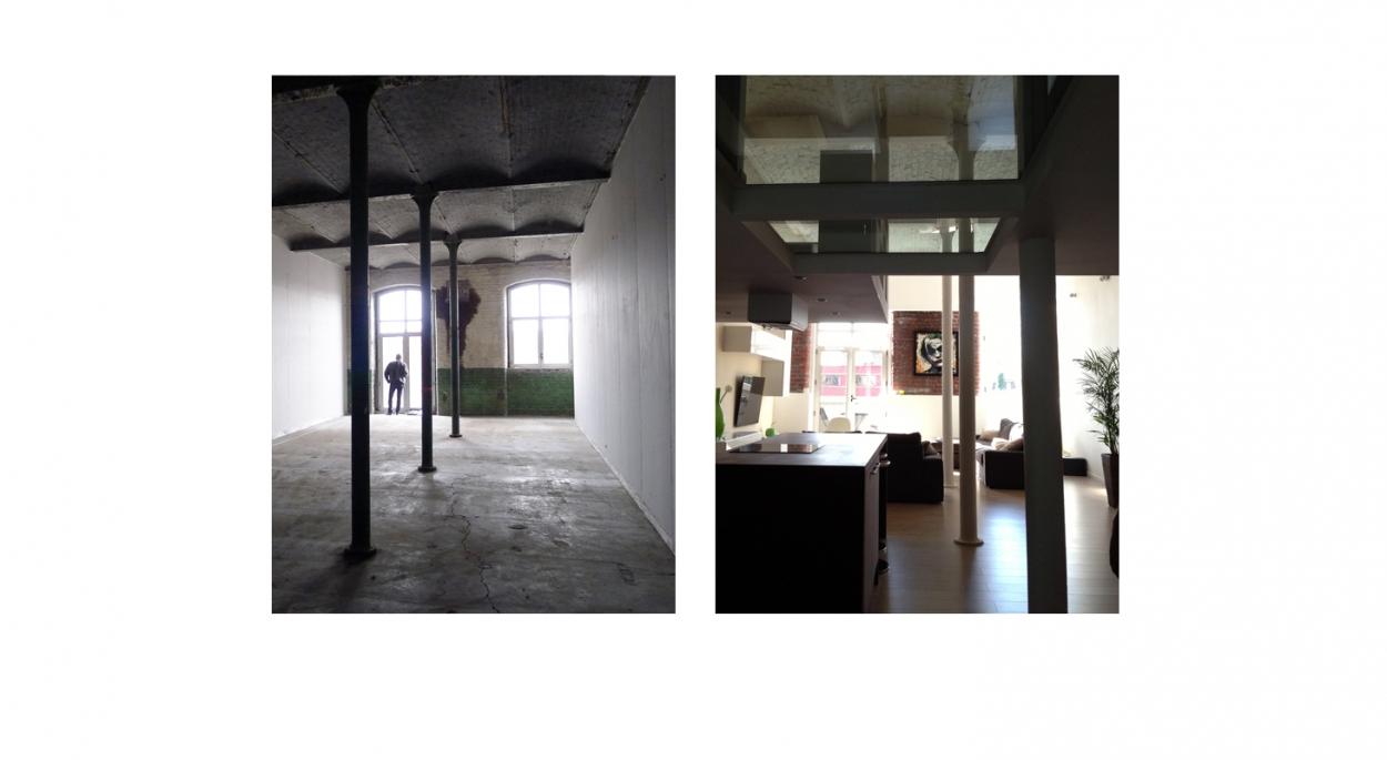 Aménagement d'un loft - vues avant et après travaux