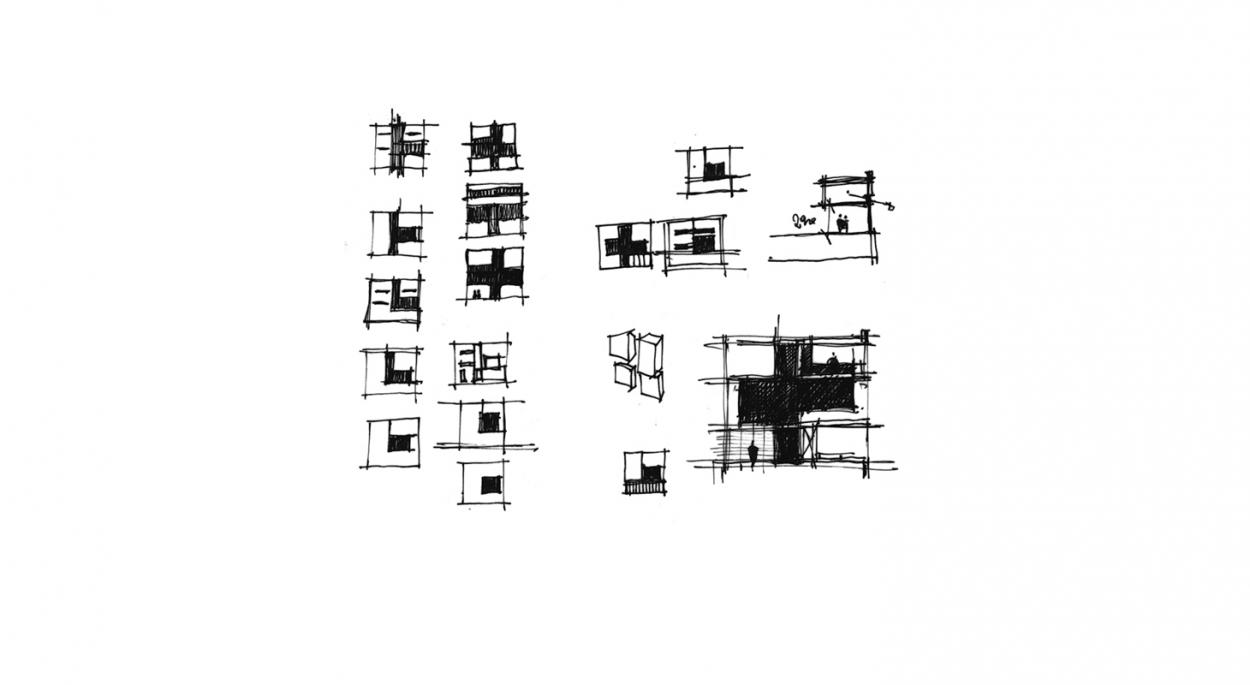 Construction d'une maison de ville en ossature bois - Croquis d'étude