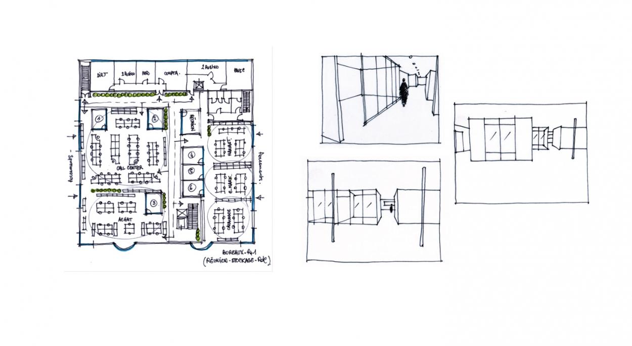 Aménagement de bureaux - Plan de l'open space - Croquis d'étude