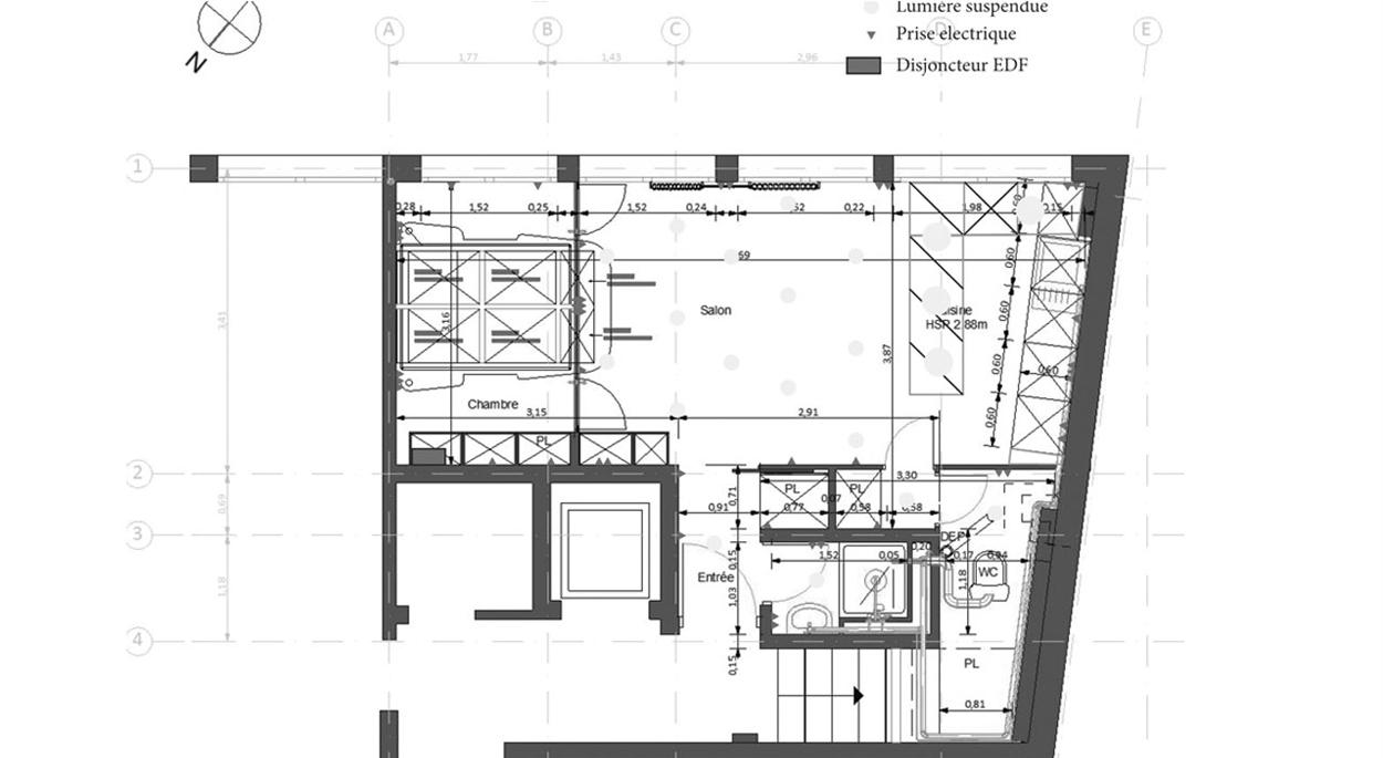 Plan projeté rehabilitation appartement à Clichy