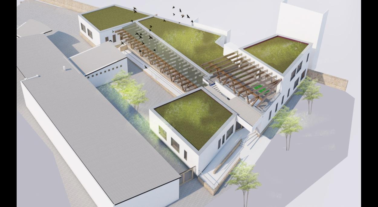 Vue aérienne du centre de loisirs avec ses toitures végétalisées