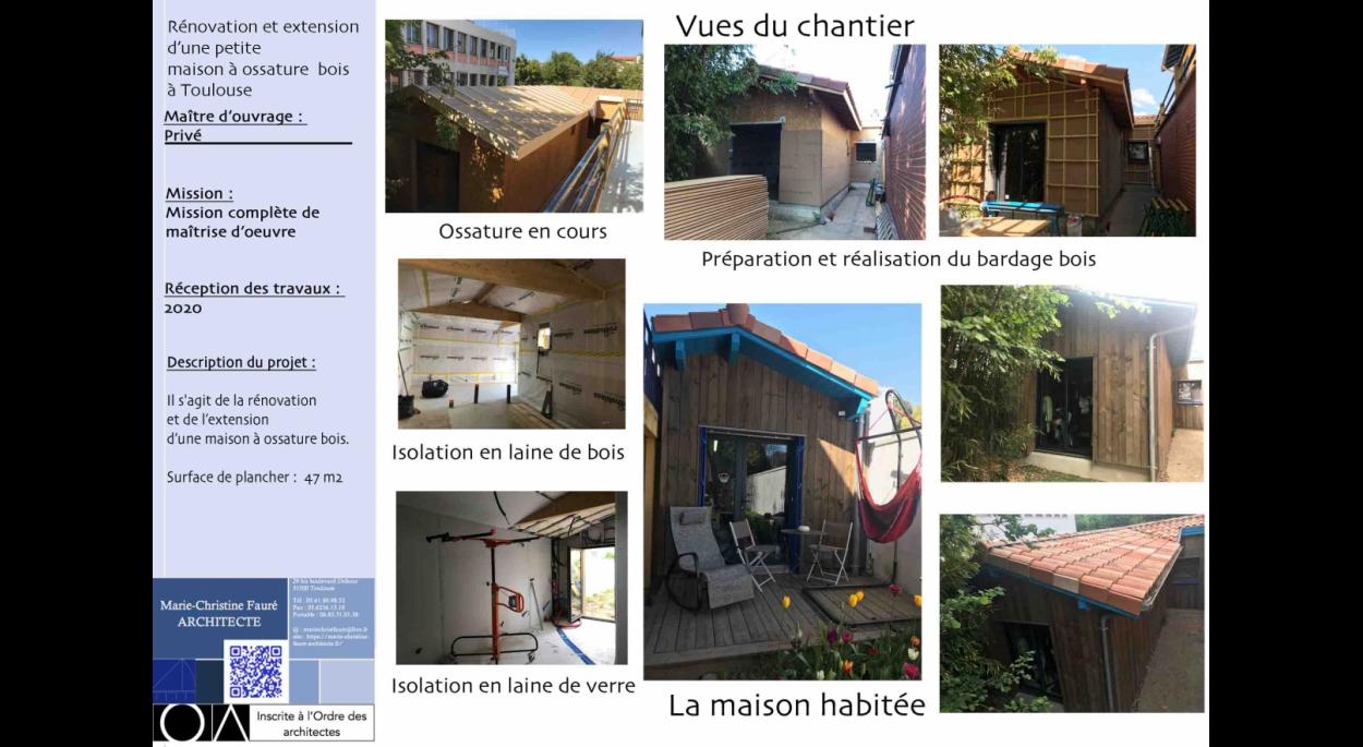 Rénovation et extension d'une maison à ossature bois à Toulouse