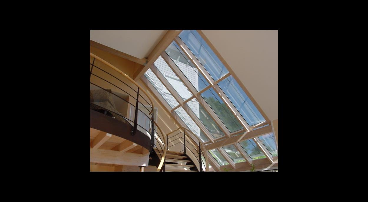 toit vitré vue de l'intérieur construction neuve ossature bois